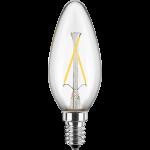LED Filament Glühfaden Kerze 230V 2W E-14 2700K Glas klar (EEK: A++)