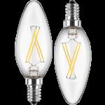 LED Filament Kerze 230V 4W E-14 Glas klar, warmweiß, nicht dim. DOPPELPACK (EEK: A++)
