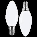 LED Filament Kerze 230V 4W E-14 Glas matt, warmweiß, nicht dim. DOPPELPACK (EEK: A++)