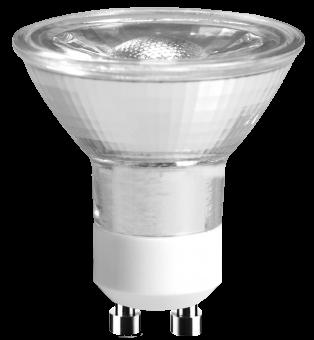 LED Strahler 230V 5W GU-10 2700K 36°, COB, Glas (EEK: A+)