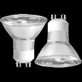 Doppelpack LED Strahler 230V 4W GU-10 2700K 36°, COB, Glas