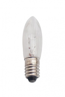 Topkerze Kerzenlampe C13x44 14V 3W E-10 klar geriffelt (Lichterkette)