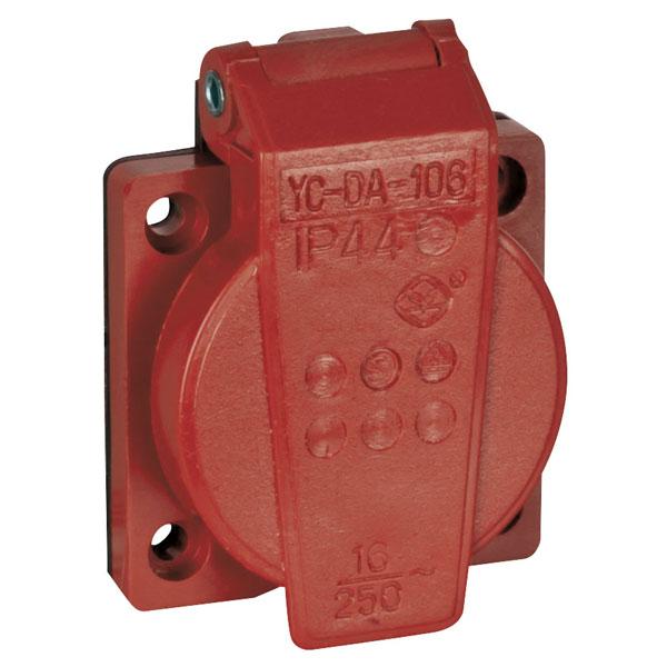 Klappdeckel-Einbausteckdose VDE IP44, rot