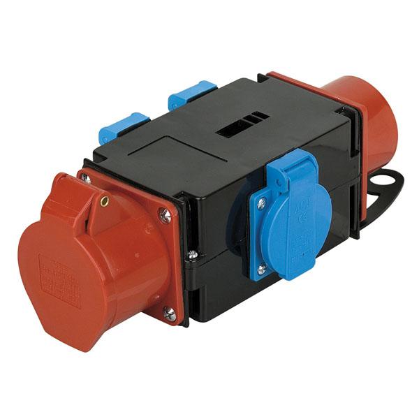 Stromverteiler CEE 16A In/Out, 3x Schuko-Steckdose