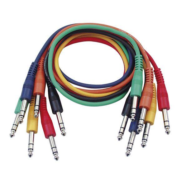 DAP-Audio DAP FL12 - 6 farbige Patch Kabel 6,3mm Stereo Klinke, 30cm